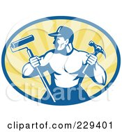Royalty-Free (RF) Clipart Illustration of a Retro Handyman Holding A Paint Roller And Hammer Logo by patrimonio #COLLC229401-0113