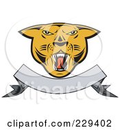 Royalty Free RF Clipart Illustration Of A Cougar Head And Blank Banner Logo by patrimonio