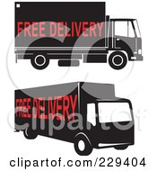 Royalty Free RF Clipart Illustration Of A Digital Collage Of Two Free Delivery Trucks