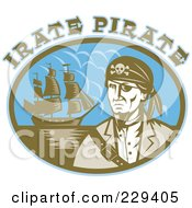 Royalty Free RF Clipart Illustration Of Irate Pirate Text Over A Pirate And Ship by patrimonio