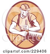Royalty Free RF Clipart Illustration Of A Retro Logger Sawing Logo