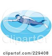 Royalty Free RF Clipart Illustration Of A Retro Man Swimming Logo