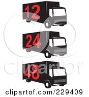 Royalty Free RF Clipart Illustration Of A Digital Collage Of Numbered Delivery Trucks
