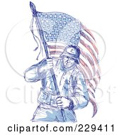 Sketched Soldier Carrying An American Flag
