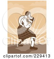 Royalty Free RF Clipart Illustration Of A Retro Scotsman Athlete Throwing by patrimonio