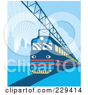 Royalty Free RF Clipart Illustration Of An Electric City Train 2 by patrimonio