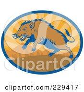Royalty Free RF Clipart Illustration Of A Retro Razorback Boar Running Logo