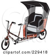 Royalty Free RF Clipart Illustration Of A Retro Rickshaw