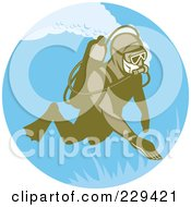 Royalty Free RF Clipart Illustration Of A Retro Scuba Diver Logo 1 by patrimonio