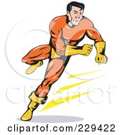 Royalty Free RF Clipart Illustration Of A Retro Running Super Hero
