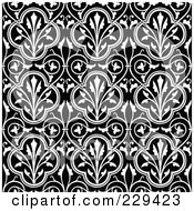 Royalty Free RF Clipart Illustration Of A Seamless Background Pattern Of Black And White Clovers