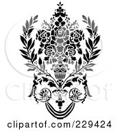 Royalty Free RF Clipart Illustration Of A Black And White Floral Bouquet Design 7