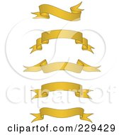 Royalty Free RF Clipart Illustration Of A Digital Collage Of Golden Blank Banners 1