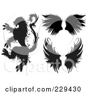Royalty Free RF Clipart Illustration Of A Digital Collage Of A Beast And Wings by BestVector