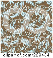 Royalty Free RF Clipart Illustration Of A Seamless Background Pattern Of Blue Leaves On Brown 1