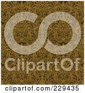 Royalty Free RF Clipart Illustration Of A Seamless Background Pattern Of Complex Gold Damask