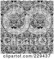 Royalty Free RF Clipart Illustration Of A Seamless Background Pattern Of Complex Black And White Damask
