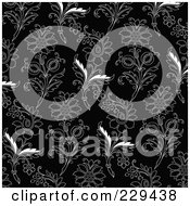 Royalty Free RF Clipart Illustration Of A Seamless Background Pattern Of Black And White Floral