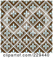 Seamless Background Pattern Of Blue Fleur De Lis Diamonds On Brown