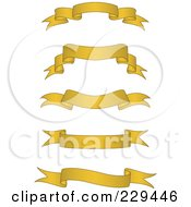 Royalty Free RF Clipart Illustration Of A Digital Collage Of Golden Blank Banners 2