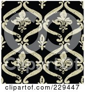 Royalty Free RF Clipart Illustration Of A Seamless Background Pattern Of Beige Fleur De Lis Diamonds On Black
