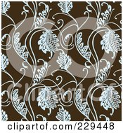 Royalty Free RF Clipart Illustration Of A Seamless Background Pattern Of Blue Leaves On Brown 3