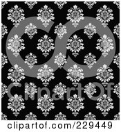 Royalty Free RF Clipart Illustration Of A Seamless Background Pattern Of Black And White Floral Damask