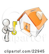 Clipart Illustration Of A White Businessman Holding A Skeleton Key And Standing In Front Of A House With A Coin Slot And Keyhole
