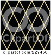 Royalty Free RF Clipart Illustration Of A Seamless Background Pattern Of Gold Floral Iron On Black