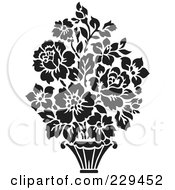 Royalty Free RF Clipart Illustration Of A Black And White Floral Bouquet Design 4