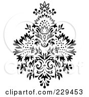 Royalty Free RF Clipart Illustration Of A Black And White Floral Bouquet Design 5