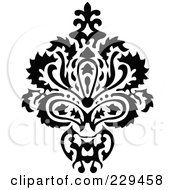 Royalty Free RF Clipart Illustration Of A Black And White Floral Bouquet Design 3