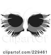 Royalty Free RF Clipart Illustration Of A Pair Of Gothic Wings 1 by BestVector