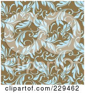 Royalty Free RF Clipart Illustration Of A Seamless Background Pattern Of Blue Leaves On Brown 2