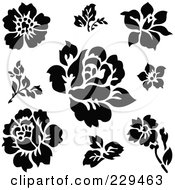 Royalty Free RF Clipart Illustration Of A Digital Collage Of Black Rose And Leaf Designs by BestVector
