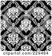 Royalty Free RF Clipart Illustration Of A Seamless Background Pattern Of Black And White Floral Bouquets