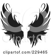 Royalty Free RF Clipart Illustration Of A Pair Of Gothic Wings 2