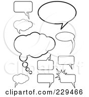 Royalty Free RF Clipart Illustration Of A Digital Collage Of Black And White Speech Thought And Chat Balloons