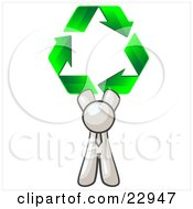 Clipart Illustration Of A White Man Holding Up Three Green Arrows Forming A Triangle And Moving In A Clockwise Motion Symbolizing Renewable Energy And Recycling by Leo Blanchette