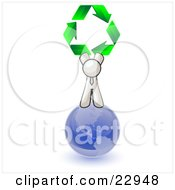 White Man Standing On Top Of The Blue Planet Earth And Holding Up Three Green Arrows Forming A Triangle And Moving In A Clockwise Motion Symbolizing Renewable Energy And Recycling