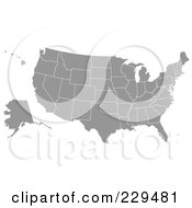 Royalty Free RF Clipart Illustration Of A Gray American Map
