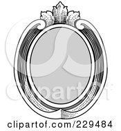 Royalty Free RF Clipart Illustration Of A Vintage Black And White Oval Frame 1