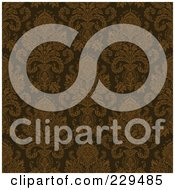Royalty Free RF Clipart Illustration Of A Seamless Background Pattern Of Complex Brown Damask