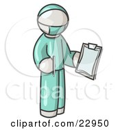White Surgeon Man In Green Scrubs Holding A Pen And Clipboard