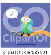 Royalty Free RF Clipart Illustration Of A Colorful Parrot Perched On A Branch And Singing