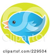 Royalty Free RF Clipart Illustration Of A Talking Blue Bird Icon 3