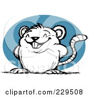 Royalty Free RF Clipart Illustration Of A Proud Rat Over A Blue Oval by Qiun