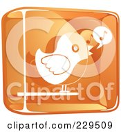 Orange And White Glass Singing Bird Icon