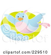 Royalty Free RF Clipart Illustration Of A Blue And Pink Bird Flying Above Waves