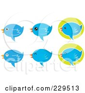 Royalty Free RF Clipart Illustration Of A Digital Collage Of Talking Blue Bird Icons With Shadows by Qiun